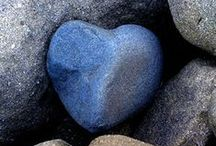 """Heart Shaped Rocks. / """"The shapes of river rocks are accidents of erosion -- most of them will be ordinary ovals, but occasionally one will be different. A heart-shaped (cardioid) stone doesn't last long in the rough environment of a streambed, which is why they're so scarce""""."""