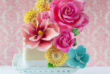 Multicolor flower cakes