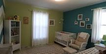 Nursery option 1 -- teal & lime / I'm trying to decide between a bright, fun safari theme or a mountain/foresty theme