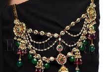 Waist jewellery for saree (hook type) / Waist jewellery is unique to India, because the Saree, which bares the midriff. Waist jewellery has been worn in India since ancient times in form of belts of precious metals, hook type kandoras, or key chains, key rings. Certain specific kinds of key rings & kandoras also act to keep the throat clear of phlegm,as their hook presses against the acupressure points on the waist there by activating them, so that the woman needs to clear her throat less often, and can do so easily if required.