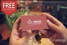 Free PSD Business Cards MockUps / Real photo PSD business cards mockups...