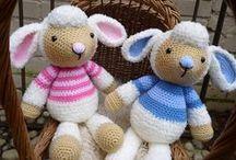amigurumi sheep, lambs foxes & donkeys