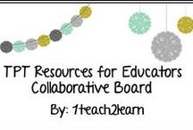 TPT Resources for Educators / This board is for all of us to share our resources and creativity with one another. Please limit your posts to 3 a day and you may also post freebies and general information whenever you want! Let's share our creativity! To be added, message me here on Pinterest or email me at bduncan1127@gmail.com
