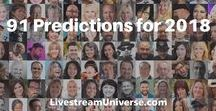 91 Predictions for 2018 / Blog post by Ross Brand for Livestream Universe featuring 91 leading digital media personalities offering their predictions for 2018 on livestreaming, podcasting, YouTube and social video.