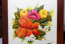 Cuadros de flores / Cuadros de flores en relieve ralizados en mdf, pintados con acrilicos