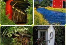 ❤ Covered Bridges , Barns, Mills, outhouses