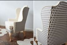 Two-fabric Wingback Chair Project / Plans for a multi fabric wingback makeover