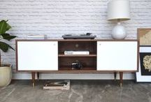 Our work - TV/media stands and credenzas with swinging doors / Solid wood pieces with plenty of space for all your media and entertainment units. We make handcrafted pieces influenced by Danish Modern style, but also heavily inspired by the vintage, minimalist aesthetic of downtown New York and Brooklyn. Made with love in NYC.