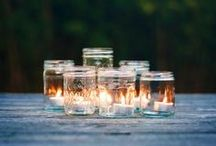 Mason Jar Luminaries / Candle Impressions flameless candles are great for playing with mason jars and are perfect for special events! Set the timer so you can put on the lid and fill the jars with your favorite items to create unique looks, every season.
