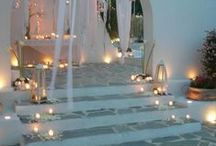 Candles on Staircases / Candles placed on staircases may look like a stairway to heaven, but if one of them knocks over it will look like a stairway to... well, somewhere else! Use Candle Impressions Flameless Candles to decorate your staircases and add a heavenly touch to events.