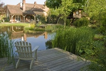 Willows and Water / A new garden featuring a pond, deck and tree-house and providing a transition between a newly converted coach-house and surrounding water meadows in rural Surrey