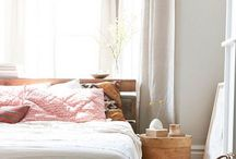 • bedroom / Soft cotton and linen Pale pink and neutrals Patterned rugs and pillows Calming and light
