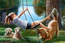 Állatok,gyerekek és emberek festményeken I. / Szép képek és festmények amiken állatok és emberek(gyerekek) szerepelnek.