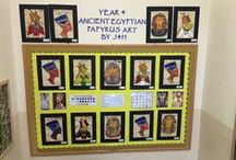 J4H Egyptian artwork (2015) / This board displays Y4H's Batik, Papyrus and Collaborative collage artwork.