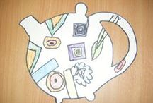 J30 Clarice Cliff artwork (2014-15) / Clarice Cliff inspired art and pottery created by Year 3.