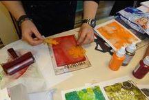 Workshop Gelli Plate - 19 december 2015 / Op zaterdag 19 december gaf Miranda van den Bosch een workshop met de Gelli Plate.