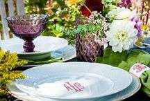 Spring Tablescapes & Entertaining / Spring Tablescapes & Entertaining | Entertain with beautiful table settings this spring for Easter & weddings. Remember to add your favorite spring flowers & bright colors when decorating & setting the table. SHOP our monogrammed white porcelain china dinnerware http://www.sashanicholas.com