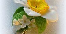 Hairpins, headbands, brooches, jewelry Bridal. / Украшения для волос ободок для волос с цветами Серьги браслеты   with flowers  ПОЛИМЕРНАЯ ГЛИНА  лепка