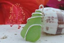 WIRE WRAPPED PENDANTS / Out Of The Blue Sea Glass Jewelry is renowned for wire wrapping. Our sea glass is wrapped with thick gauge sterling silver wire which is very unusual as most wire wrapping is done with very thin wire. Our choice of working with thick gauge wire allows for the most durable and solid setting possible.
