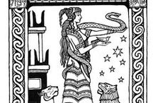 Goddesses to Color / BW images to print and color yourself- From classical sources and original art by Katlyn - Enjoy! http://www.mermadearts.com