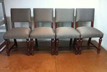 10 Custom West Brother Chairs / Dinning chairs reupholstered with eco-friendly fabric.