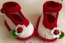 Crochet slippers, booties, hand warmers etc