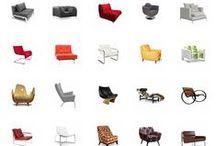 Chairs / Algunas sillas con sus países de origen (donde fueron diseñadas o expuestas por primera vez).
