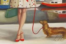 ART ♣ LADIES & PETS / Almost all these paintings are from the victorian / vintage era / by Victorian Era