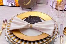 Classic Gold & White Wedding / A modern take on the classic color combination. Mirrors, Mercury Glass, Clear Chairs and Soft Colored Florals