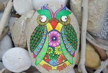 Stone Owl / mandala owl! www.lovestonescolour.etsy.com
