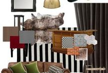 Gentleman's Smoky Lounge Sample or Mood Board / A formal dining area / cigar lounge for an African Colonial style home. Red Persian carpet, leather couch. Colours red, green, gold, blue, grey. Mood board included.