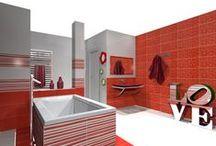 salle de bain vitaminée / Des idées d'aménagement pour tester les couleurs dans votre salle de bain. Avec le logiciel professionnel 3D LOGiceram testez et re-testez avant de poser...