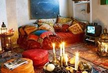 Apartment Therapy - Interior Indulgements / Interior design with an earthy, ethnic touch Multi-colored textures, wood, textiles, rugs, ornaments, leather, fur, plants...