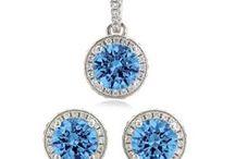 Blue Zircon Wedding / Custom Jewelry for your bridal party.. in Blue Zircon