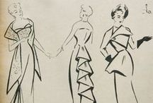 vintage fashion sketches / sketches from the pages of magazines from the 1940's and 1950's. Some are reports from French haute couture shows, others from presentations by Dutch fashion houses. And a few are fanciful creations illustration ads.
