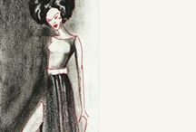 Fashion Illustrations at Blackhoney / Creating #fashion visuals in the form of #fashion #illustration on old magazines with marker,pen,brush & charcoal to give #vintage effect.The mix, of a modern female on old paper, shows revival of olden times.