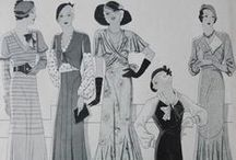 """1930's sewing patterns / Designs from sewing magazine """"Gracieuse"""" from 1930 to 1934."""