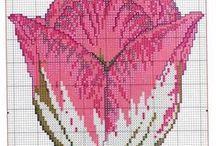 květiny- křížkové vyšívání / projektů květin pro křížkovou vyšívku
