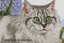 kočky - křížková vyšívka / křížkového vyšívání