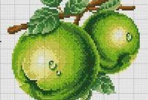 ovoce, zelenina, houby - křížková vyšívka / návodu na křížkovou vyšívku