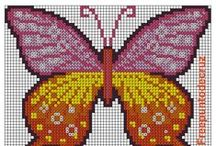 motýli - křížková vyšívka / křížkového vyšívání