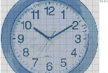 hodiny - křížková vyšívka / předlohy na křížkovou vyšívkuj