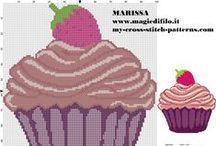mufiny, koláče, jídlo - křížková vyšívka / předlohy na křížkovou vyšívku