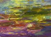 2006 Water Lillies, oil painting by Margaret Raven / I invite you for watching Małgorzata's Kruk archival art gallery from many years from the past. They all are made by oil or less acryl painting on canvas with technique impasto, stretched on the wooden loom.  It's contain original artworks since 1995 year including categories like a: flowers, landscapes, seascapes, mountains, meadows, modern painting, abstraction, animal, art deco, people, still life, yachts and boats.