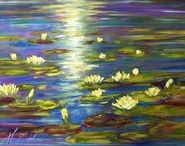 2007 Water Lillies, oil painting by Margaret Raven / I invite you for watching Małgorzata's Kruk archival art gallery from many years from the past. They all are made by oil or less acryl painting on canvas with technique impasto, stretched on the wooden loom.  It's contain original artworks since 1995 year including categories like a: flowers, landscapes, seascapes, mountains, meadows, modern painting, abstraction, animal, art deco, people, still life, yachts and boats.