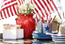 Yankee Doodle / Here in our small town, we love a parade, our flag and being American.  Patriotic displays and Summer BBQ's just seem to go hand in hand.  We love Red, White and Blue and hope you are inspired to do the same.