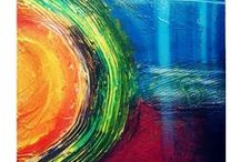 Ruchi Kumeria's Art / Texture paintings, acrylic colors, Abstracts, wall clocks