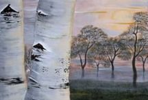 Birch tree painting / Acrylic painting about birch tree