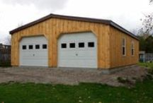 Double Wide Garages / Beautiful Double Wide Garage Designs. Painted Board and Batten Finish - Similar to our single wide garages, these unique double garages were delivered Fully-Assembled and Ready for Use. Visit NorthCountrySheds.com for more information.