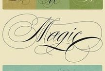 Handwritings, fonts, cards, pictures and symbols